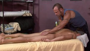 Smooth Str8 ripped ex military dude is super hot as he gets a massage from a hairy gay stud.