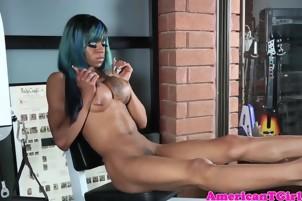 Busty ebony tgirl wanks her big hard cock