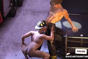 3D cartoon ebony fireman taking a hard white cock in his ass
